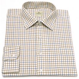 Hoggs of Fife Cotton Tattersall Shirt Wine//Blue//Green Country Hunting//Shooting