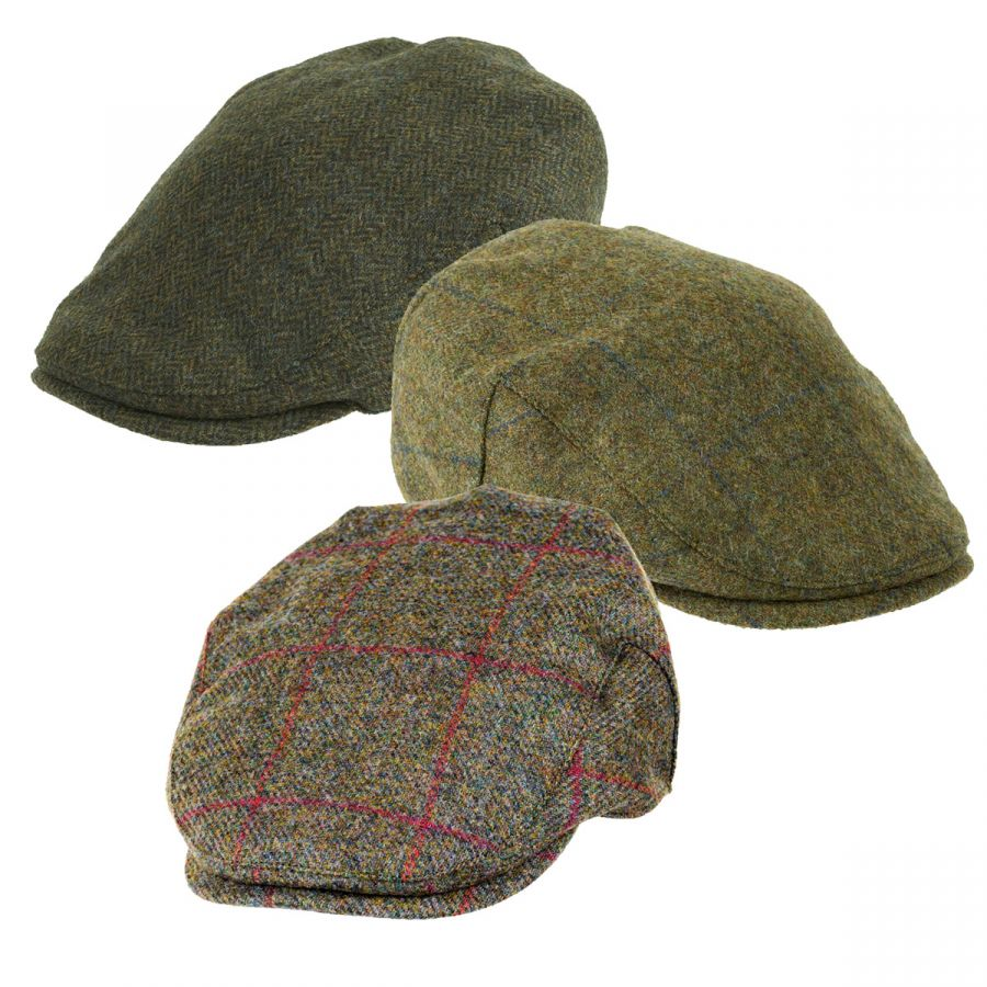 5692a22c151 Chapman Tweed Flat Cap Green Herringbone - Caps   Hats - Clothing ...