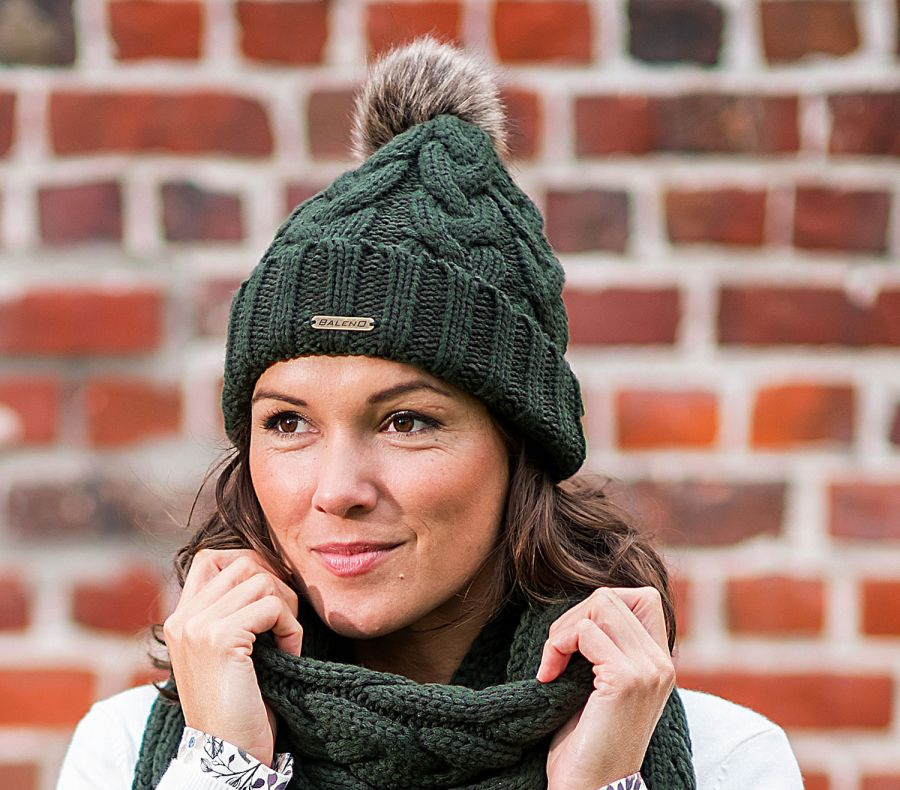 3df2cc1e Knitted Beanie with Faux Fur Pom Pom Dark Green - Caps, Hats & Beanies -  Accessories - Ladies | Fur Feather and Fin