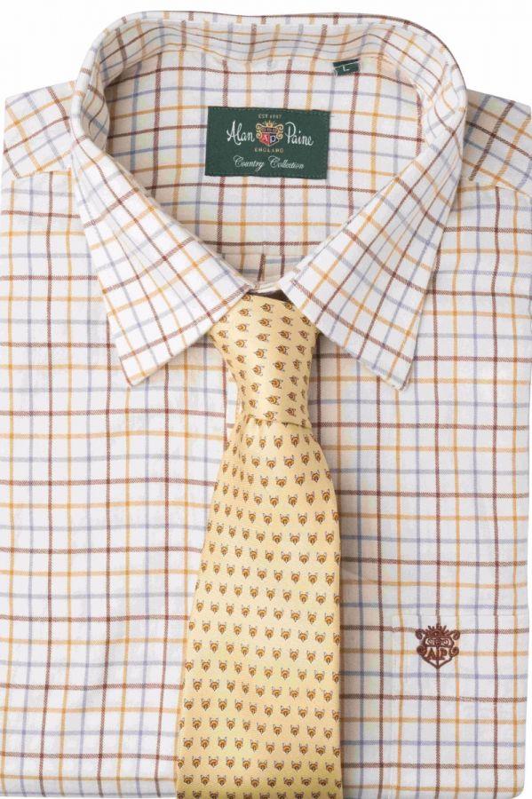 Brown//Navy Alan Paine Ilkley Mens Shirt