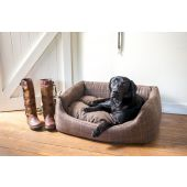 Country Tweed Rectangle Dog Bed - Brown