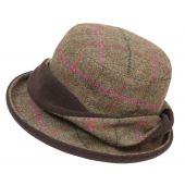 Ladies Tweed Twist Hat Olive/Cerise