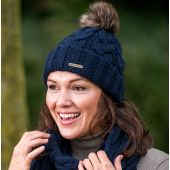 Knitted Beanie with Faux Fur Pom Pom Navy