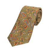 Paisley Silk Tie Moss Green