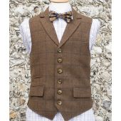 Country Tweed Waistcoats - Brown With Navy Check