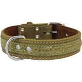 Ox leather and Tweed Dog Collar