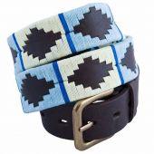 Ladies Polo Belt - Pale Blue/Cream