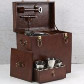 Leather Drinks Box with Cups