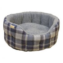 Country Classic Tweed and Sherpa Fleece Dog Bed - Grey
