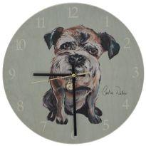 Walnut Border Terrier Clock
