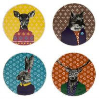 """After Dark"" Woodland - 4pk Ceramic Coasters"