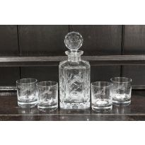 Engraved Glasses and Decanter Set Pheasant