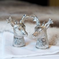 Silver Plated Stag Head Salt and Pepper Set