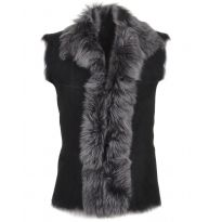Real Fur and Sheepskin Gilet - Black