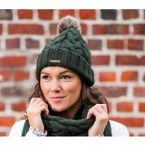 Knitted Beanie with Faux Fur Pom Pom Dark Green