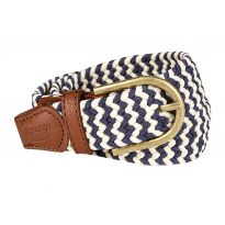 Baleno Stretch Corded Belt Sand/Navy