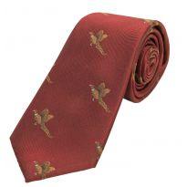 Woven Silk Tie Flying Pheasants Wine