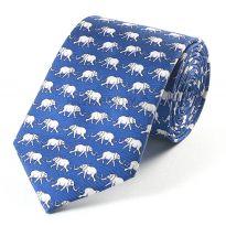 Bryn Parry Silk Tie Elephants Blue