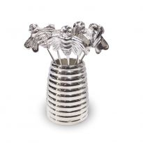 Silver Plated Bee Olive Picks and Holder
