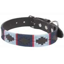 Argentine Bridle Leather Collars Navy/Pale Blue