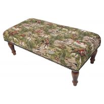 Horses and Hounds Upholstered Tapestry Stool