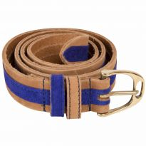 Leather Contrast Belts Cobalt