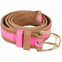 Leather Contrast Belts Neon Pink