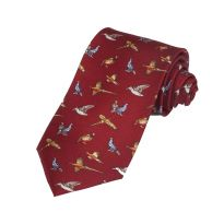 Silk Tie Red Game Bird