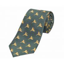 Woven Silk Tie Flying Pheasants Green