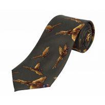 Silk Tie Flying Pheasant - Green