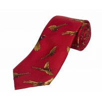 Silk Tie Flying Pheasant - Red