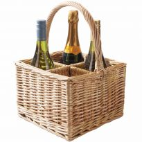 Wicker Wine/Champagne Basket Carrier for 4 Bottles