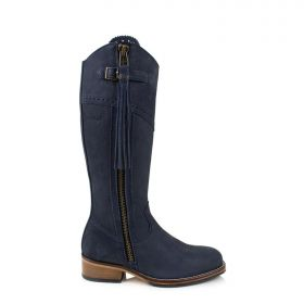Spanish Style Mid Calf Blue Boots With Tassel