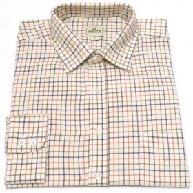 Hoggs of Fife Tattersall Shirt - Tan/Navy/Green