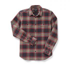 Filson's Vintage Flannel Work Shirt Black Gold Red Check
