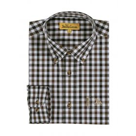 Percussion Classic Cotton Shirt - Brown / Navy Check