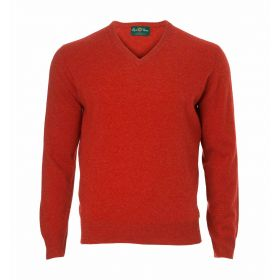Alan Paine Lambswool V-Neck Sweater - Ember