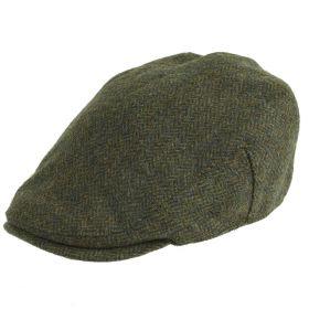 Chapman Tweed Flat Cap Green Herringbone
