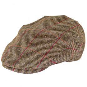 Kinloch Waterproof Tweed Cap Mid Olive/Red