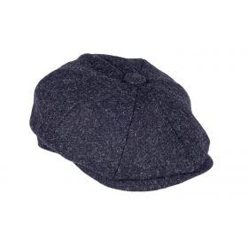 Twill Tweed 8 Piece Cap - Black