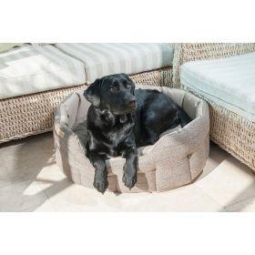 Traditional Tweed & Water Resistant Dog Bed - Beige