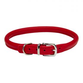 Rolled Leather Dog Collar - Red