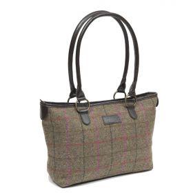 Traditional British Tweed Tote Bag - Olive/Cerise