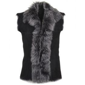 Real Fur and Sheepskin Gilet - Black