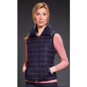 Jack Murphy Emerson Tweed Fitted Gilet With Fur Lining - Navy Dreamer