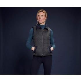 Jack Murphy Emerson Tweed Fitted Gilet With Fur Lining - Navy Teal Dreamer