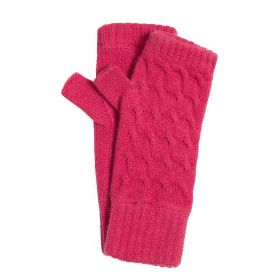 Ladies Long Cable Knit Cashmere Wristwarmers Pink