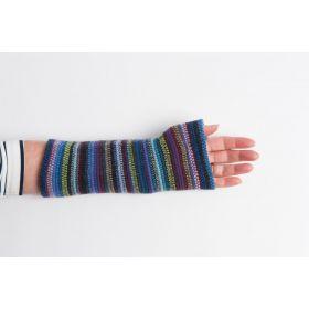 Lambswool Stripey Wristlets - Blue Multi
