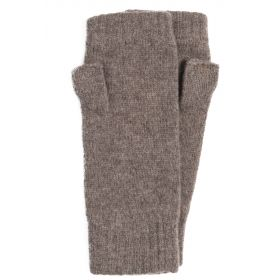 Lambswool Fingerless Mitts with Thumb Otter