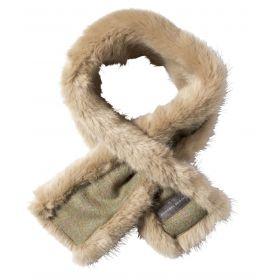 Luxury Faux Fur Neckwarmer Green Tweed